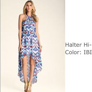 Bebe Embellished Halter Hi Low Print Maxi Dress